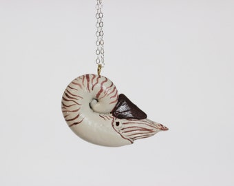 Nautilus Necklace - Sea Creature Jewelry - Hand Sculpted, Made To Order