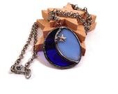 Stain Glass Necklace Blue Moon Jewelry Glass Metal Jewelry Handmade Jewelry Unique Moon Star Pendant Blue Glass Jewelry Statement Necklace