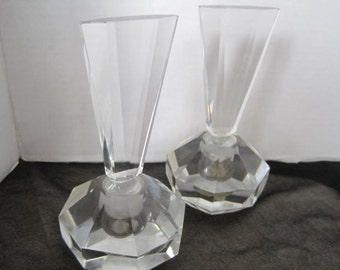 Perfume Bottle Pair - Antique Hand Cut -  Leaded Crystal - Cologne Bottles