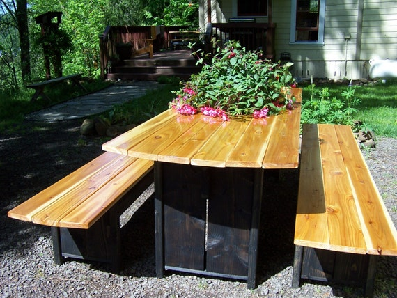Picnic Table - Farmhouse Trestle Table with Colored Legs