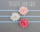 75% Off Set of 3- Petite Peach, Coral and Ivory Shabby Flower Headband Set/ Newborn/ Baby/ Flower Girl/ Wedding/ Photo Prop