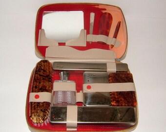 1960s Ladies Travelling Vanity Set Made in England Vintage Vanity Set Vintage Grooming Retro Vanity Retro Grooming