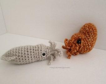 Crochet Realistic Nautilus Squid Amigurumi Baby Cephalopods Soft Plush Toy PlanetJune AquaAmi MADE to ORDER