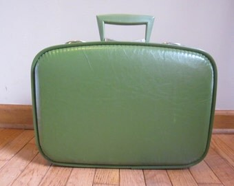 Vintage Green Hard Luggage Carry on With Inside Mirror