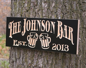 Custom Beer Sign, Beer Sign, Rustic Man Cave Sign, Custom Bar Sign, Personalized Sign, Gift For Him, Guy Gift, Benchmark Signs Maple JB