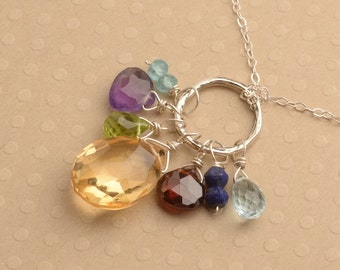 Chakra Necklace, Citrine Gemstone Necklace, Chakra Gemstone Necklace, Healing Gemstone Jewelry, Gemstone Sterling Silver