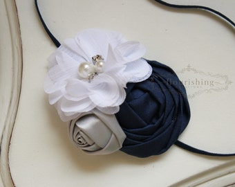 Navy and White Headband, rosette headband, navy headbands, newborn headband, photography prop, grey headbands