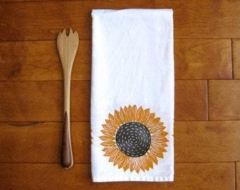 Sunflower Kitchen Towel, block print, flour sack towel (made to order)