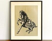 Vintage Chinese Art Batik Ming Horse Drawing Framed Print Chinese Art Asian Boho Anthropologie Decor