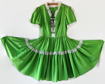 60s Rockabilly Dress,  Dirndl, Green, Swing Dance, Square Dance