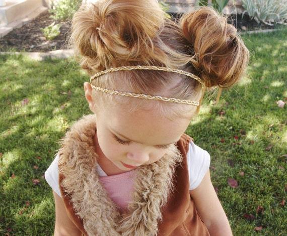 Gold Hippie Headband. gold headband, adjustable headband, gold hair accessory