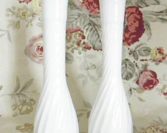 Pair of Tall Swirl White Milk Glass Bud Vases