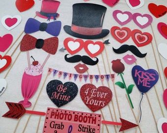 PDF - Be My Valentine Photo Booth Props - PRINTABLE Photobooth DIY Valentine's Day