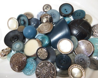 Silver and Teal Vintage Button Collection - 42 unique buttons (5A)