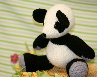Knit Panda Bear Doll - May be Personalized! - Amigurumi Knit Toy