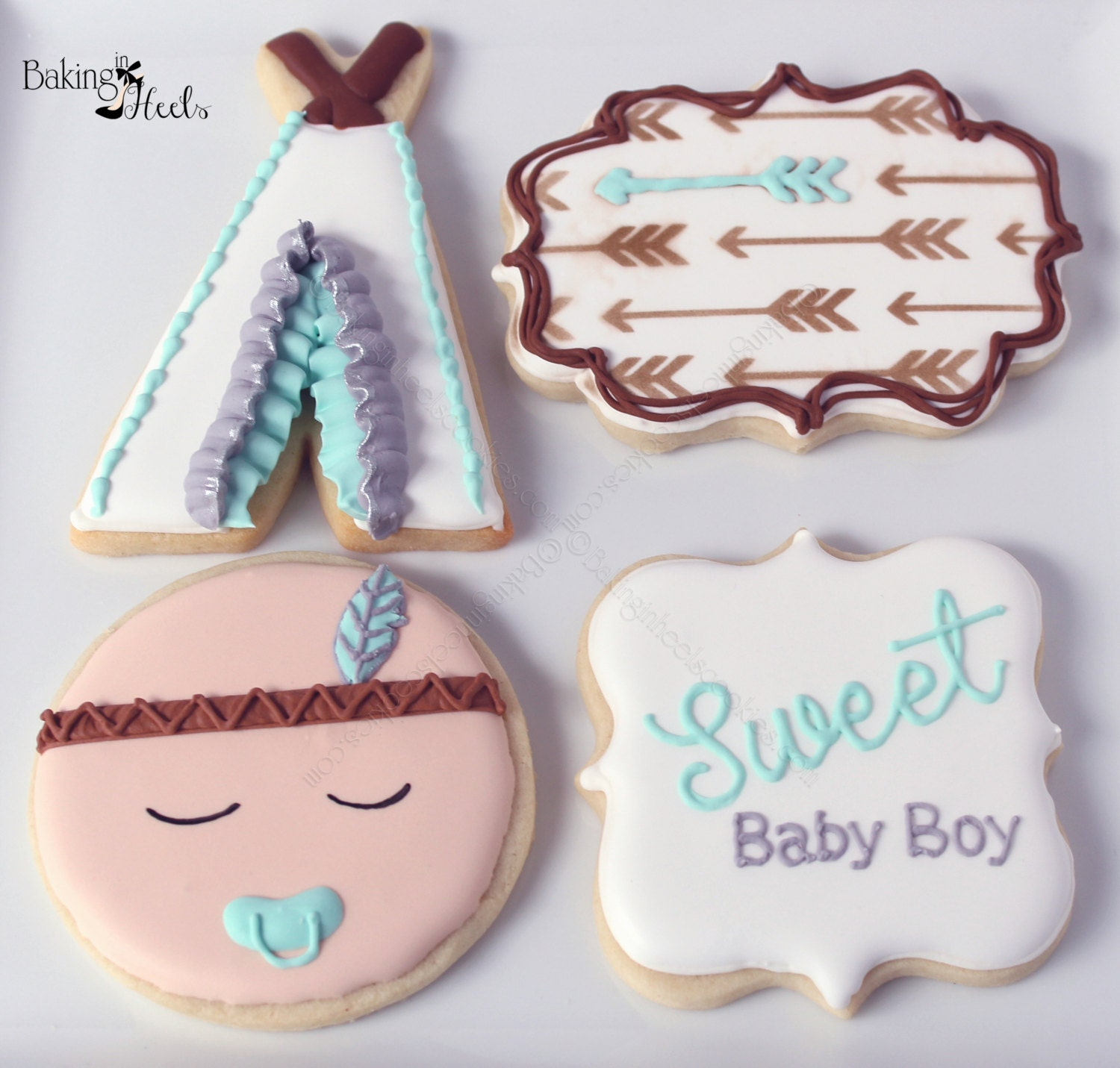 Boho Baby Boy Shower Decorated Cookies Indian Baby Bohemian