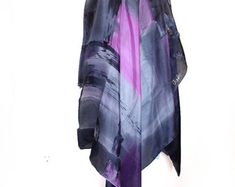 Abstract hand painted silk scarf/Shawl/Painted silk shawl/Luxury silk shawl/Painted by hand silk shawl/Luxury shawl/Painted by hand/H0136