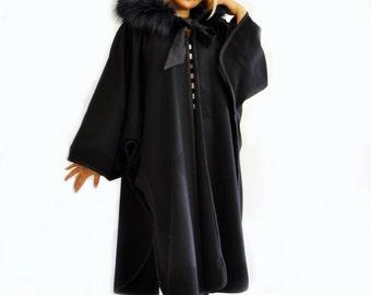 Black cape coat | Etsy