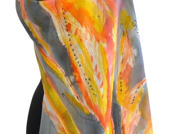 Hand painted silk Scarf/ Shawl/Autumn leaves/Painted by hand leaves/Woman silk accessory/Luxury silk scarf/Painting orange leaves/long scarf