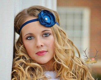 Navy Flower Headband with Antique Pearl  Blue Satin -   Baby Infant Toddlers Flower Girl Women