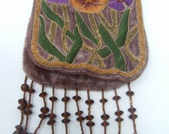 Romantic Embroidered Velvet Flower Beaded Trim Purse