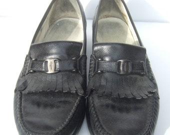 SALVATORE FERRAGAMO Mens Black Leather Shoes US Size 10