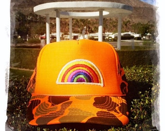 Vintage 70s Embroidered RAINBOW Patch stitched on New Snap-back Trucker Cap / Hat