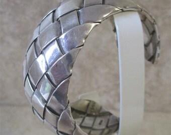 Heavy, Wide Woven Sterling Silver Cuff Bracelet / 70.5 gms Sterling Silver Curved Cuff Bracelet Taxco, Mexico / Vintage Cuff Bracelet