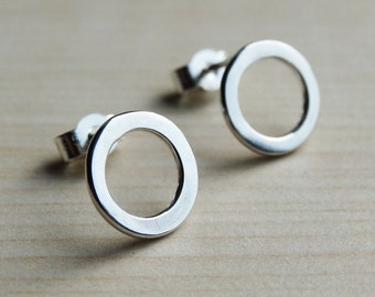 Silver Hoop Studs - Sterling Silver Circle Earrings