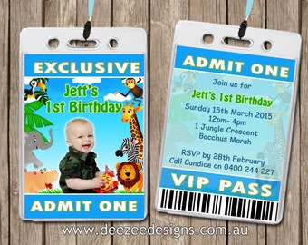 Photo Personalised Jungle Animal VIP Lanyard Invitations x 10