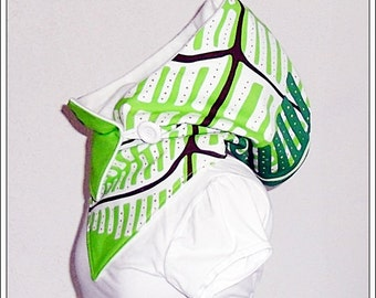 Hooded Scarf - apple green-white-cream