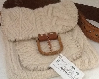 Repurposed Felted Sweater Irish Knit Wool Boho Bag