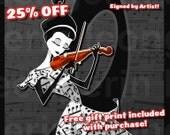 The Violin: 7.5x13.25 Print + Mat