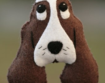 Super Cute Felt Basset Hound Dog Ornament