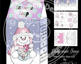 Digital (Digi) 'Snowman Soup' Printable Box with Decoupage Kit