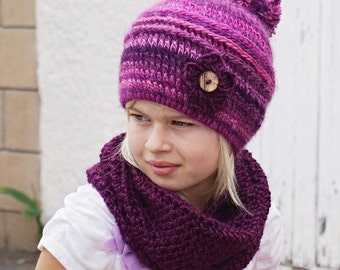 Crochet Children's Hat and Neck Warmer, Crochet Set, Pattern PDF, Hat Crochet Pattern ,Pattern No. 79