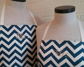 Navy Mr & Mrs Apron Set with Pocket - Navy Chevron Husband and Wife, Kitchen Gift Idea, Free Shipping Made in USA