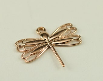 Rose Gold Plated Dragonfly Charm 19x21mm - Qty 1 Dragonfly Charm