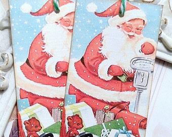 Santa Gift Tags (6) Christmas Favor Tags-Holiday Gift Tags-Christmas Treat Tag-Christmas Gift Tag-Santa Treat Tag-Candy Bag Tags-Santa Claus