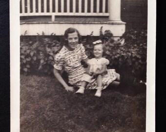 Original Antique Photograph Aunt Bird & Shirley