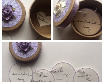 Set of Seven Asking Bridesmaids Invitation Boxes Customized for you