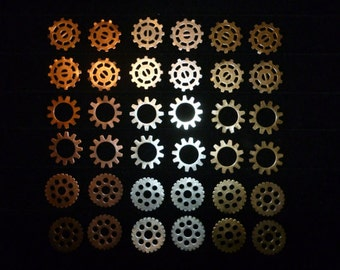 "72pcs Steampunk Gears 1/2"", 13mm- Brass Copper Silver Gears Cogs Sprockets Charms Filigree Wheel Mixed Media Jewelry Finding Embellishment"