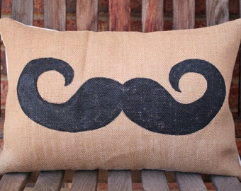 SALE - Hand Painted Handlebar Mustache on Burlap Pillow Cover