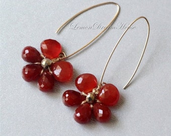 Gemstone Flower Earrings, Red Chalcedony Heart, Dark Orange Chalcedony Drop, Gold-filled Wire, Oval Earwires. Nature Inspired. Gift. E028b.