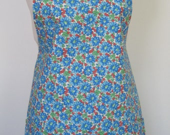 Blue Daisy Cotton Apron - Made in America fabric by Creating New Traditions is fully lined apron