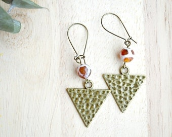 Dzi Agate Arrow Earrings Bohemian Boho Dangle Earrings - T143-K