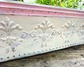 """Tin Shelf, 36"""" Shelf, Reclaimed Tin Tile, Pink White Shelf, Tin Pediment Shelf, Long Shelf, Fleur dis Lis Tin Decor, Elongated Painted Shelf"""