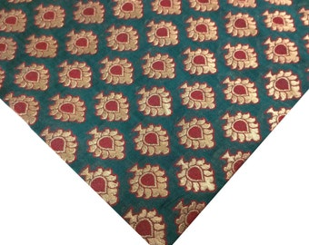 Teal Blue   Red   Gold  Banarasi Pure Silk Fabric - Silk Remnant - Pure Silk Indian Fabric Remnant