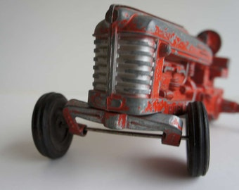 Vintage Hubley Red Metal Toy Tractor 1950s