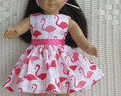 Flamingo dress for all 18 inch dolls like the American Girl doll